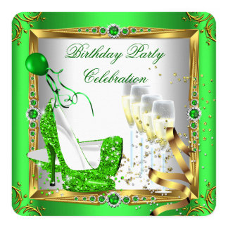 High Heel Shoes Champagne Green Gold White 4a 5.25x5.25 Square Paper Invitation Card