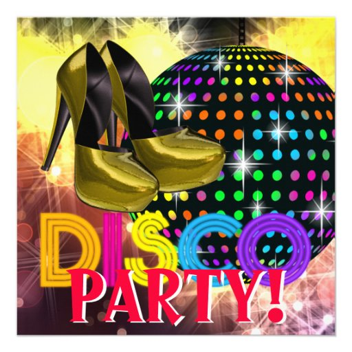 High Heel Shoes Disco Party Invitations