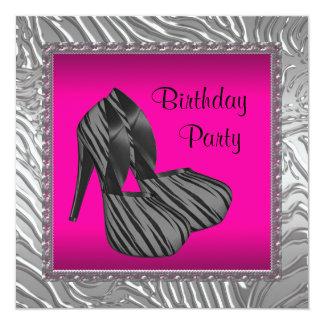 High Heel Shoes Hot Pink Zebra Birthday Party 13 Cm X 13 Cm Square Invitation Card