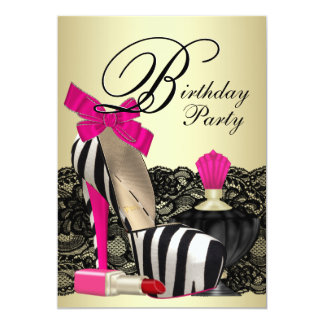 High Heel Shoes Hot Pink Zebra Party 13 Cm X 18 Cm Invitation Card