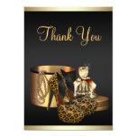 High Heel Shoes Leopard Gold Thank You Card Personalised Invitation