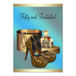 High Heel Shoes Leopard Gold Womans 50th Birthday 11 Cm X 16 Cm Invitation Card