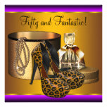 High Heel Shoes Leopard Gold Womans 50th Birthday Invites