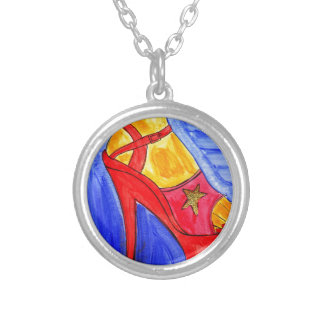 High Heel Shoes Round Pendant Necklace