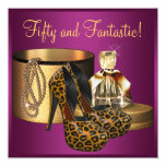High Heel Shoes Pink Leopard Womans 50th Birthday 13 Cm X 13 Cm Square Invitation Card