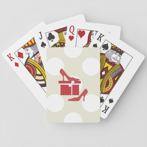 High Heel Shoes, Polka Dots, Gift Box - Red White Poker Deck