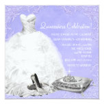 High Heel Shoes Purple Princess Quinceanera Personalized Invitations