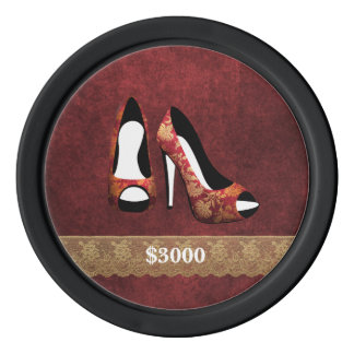 High Heel Shoes Red Clay Poker Chip Plain Edge