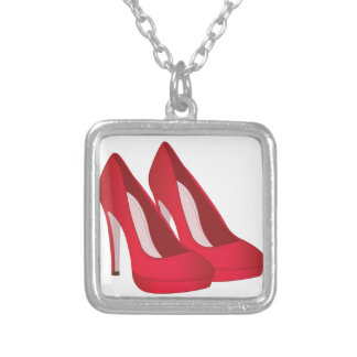 High Heel Shoes Square Pendant Necklace