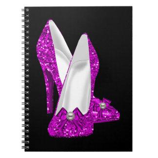 High Heel Shoes Stileto Glitter Pink Notebook