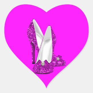 High Heel Shoes Stileto Glitter Pink Heart Sticker