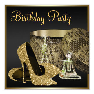 High Heel Shoes Womans Black and Gold Birthday 13 Cm X 13 Cm Square Invitation Card
