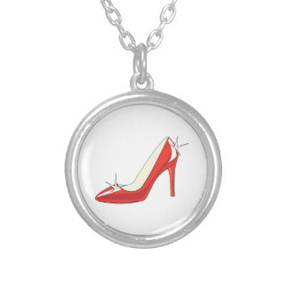 High Heeled Shoe Round Pendant Necklace