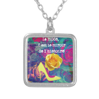 High heels, fashion quote square pendant necklace