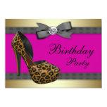High Heels Hot Pink Leopard Birthday Personalised Invitation