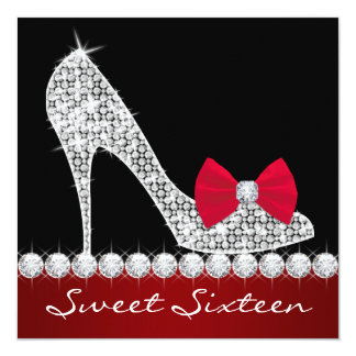 High Heels Red Black Sweet Sixteen Birthday Party 13 Cm X 13 Cm Square Invitation Card