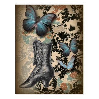 high heels shoe lover black floral victorian postcard