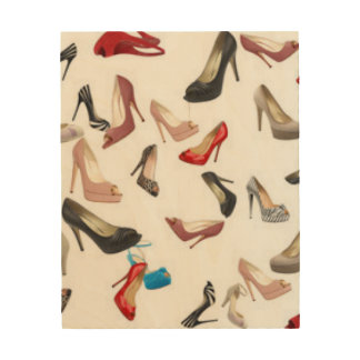 High Heels Shoes Wood Canvas