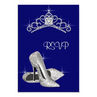 High Heels Tiara Royal Blue Quinceanera RSVP Card