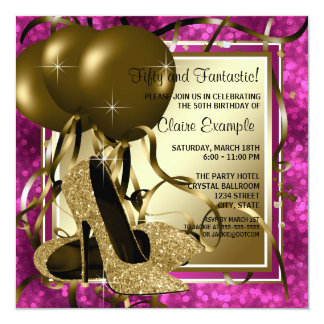 High Heels Womans Hot Pink Birthday Party 13 Cm X 13 Cm Square Invitation Card