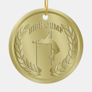 High Jump Gold Toned Medal Ornament