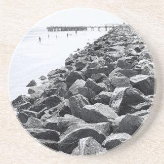 High Key Atlantic Ocean Sea Wall Landscape Sandstone Coaster