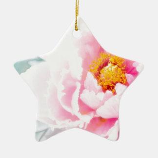 High Key Pink Peony Flower Ceramic Ornament