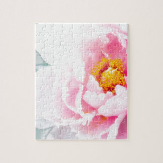 High Key Pink Peony Flower Jigsaw Puzzle