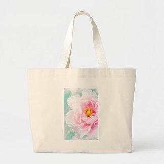 High Key Pink Peony Flower Large Tote Bag