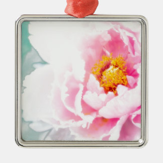 High Key Pink Peony Flower Metal Ornament