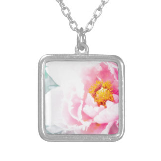 High Key Pink Peony Flower Silver Plated Necklace
