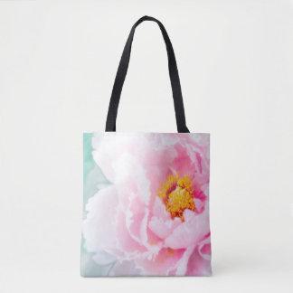 High Key Pink Peony Flower Tote Bag