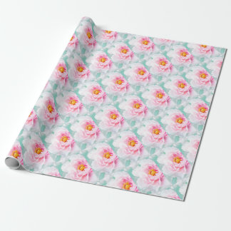 High Key Pink Peony Flower Wrapping Paper