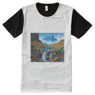 High-level cascade All-Over print T-Shirt