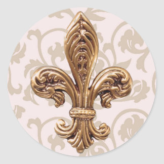HIGH LIFE Charm School pink scroll fleur de lis St Round Sticker