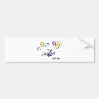 """High Life"" Comic bird in hammock in sky Bumper Sticker"