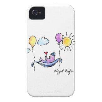 """High Life"" Comic bird in hammock in sky iPhone 4 Case-Mate Case"