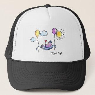 """High Life"" Comic bird in hammock in sky Trucker Hat"