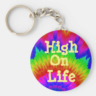 High on life say no to drugs campaign tie-dy art key ring