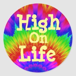 High on  life say no to drugs tie-dye art classic round sticker