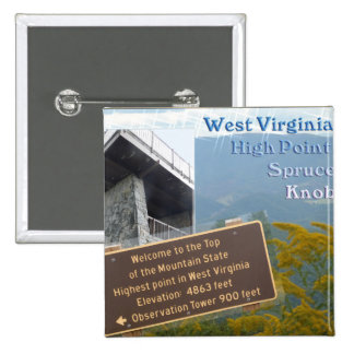 HIGH POINT WEST VIRGINIA SPRUCE KNOB PINBACK BUTTONS