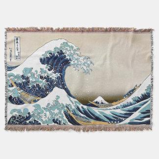 High Quality Great Wave off Kanagawa by Hokusai Throw Blanket