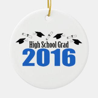 High School Grad 2016 Caps And Diplomas (Blue) Round Ceramic Decoration