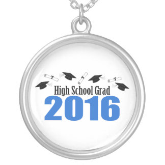 High School Grad 2016 Caps And Diplomas (Blue) Round Pendant Necklace