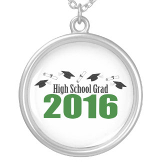 High School Grad 2016 Caps And Diplomas (Green) Round Pendant Necklace