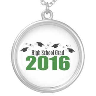 High School Grad 2016 Caps And Diplomas (Green) Round Pendant Necklace
