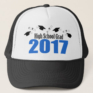 High School Grad 2017 Caps And Diplomas (Blue)