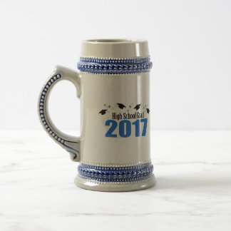 High School Grad 2017 Caps And Diplomas (Blue) Beer Stein