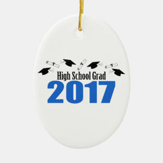High School Grad 2017 Caps And Diplomas (Blue) Ceramic Oval Decoration