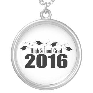 High School Grad Class Of 2016 Caps (Black) Round Pendant Necklace